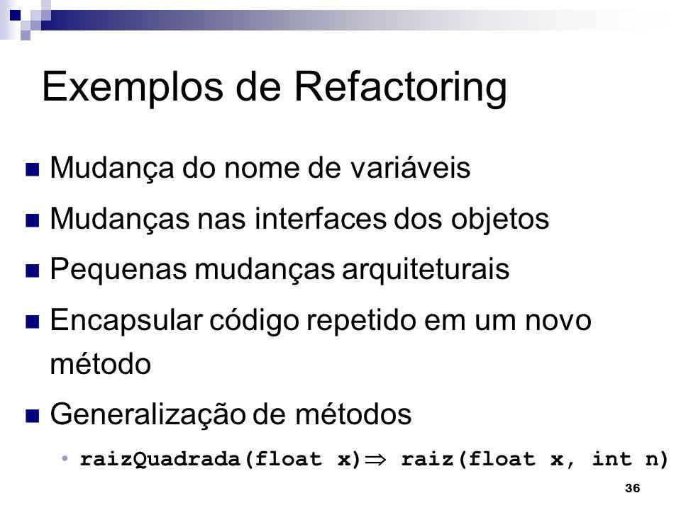 Exemplos de Refactoring