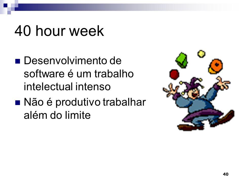 40 hour week Desenvolvimento de software é um trabalho intelectual intenso.