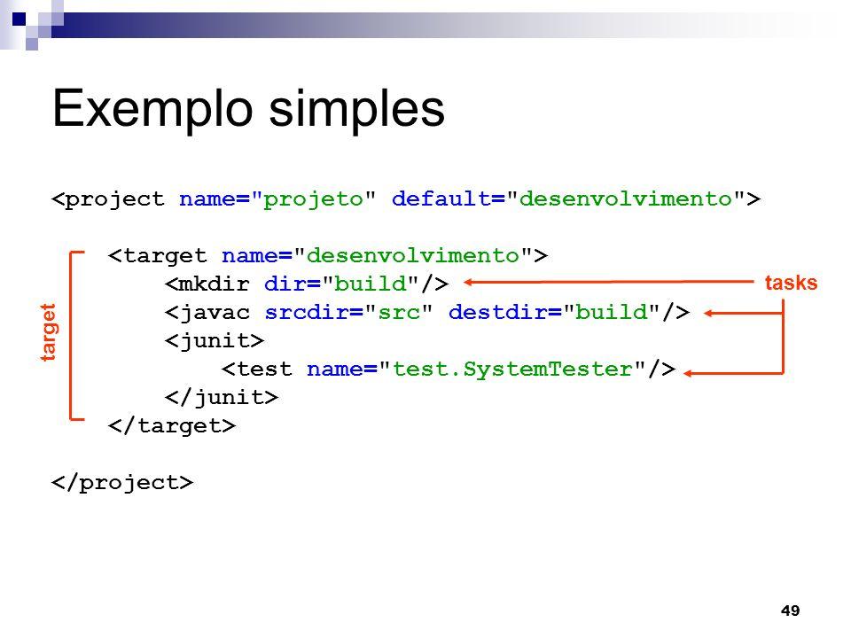Exemplo simples <project name= projeto default= desenvolvimento > <target name= desenvolvimento >