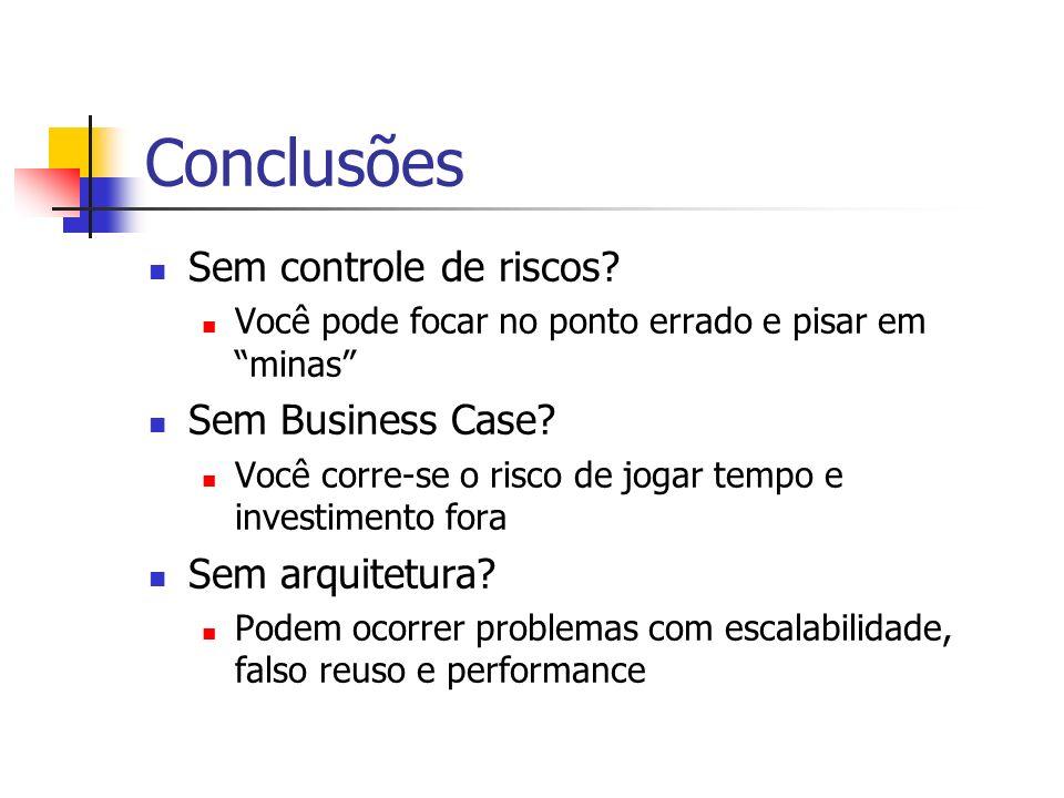 Conclusões Sem controle de riscos Sem Business Case Sem arquitetura