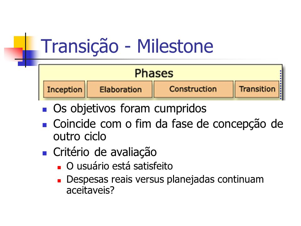 Transição - Milestone Os objetivos foram cumpridos