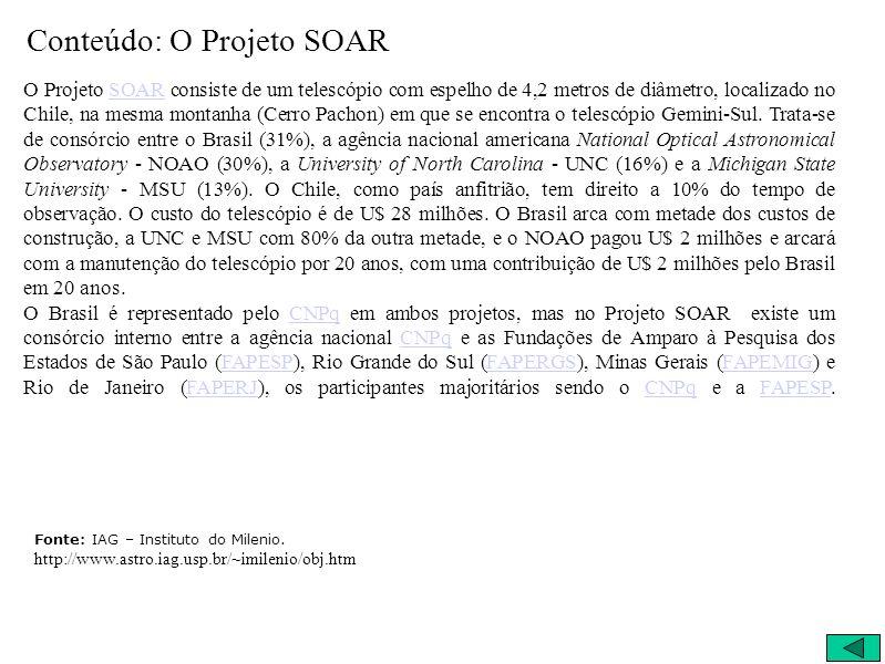 Conteúdo: O Projeto SOAR