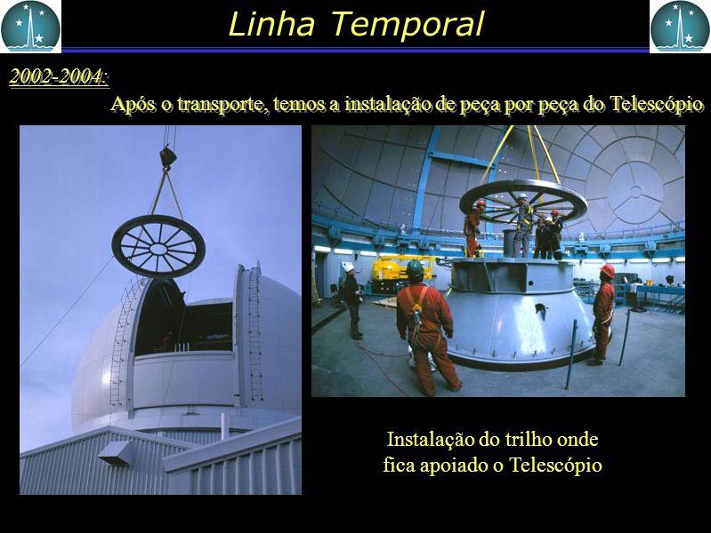 Instalação do trilho onde fica apoiado o Telescópio