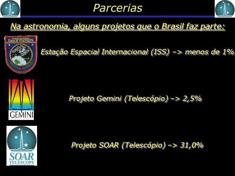 Parcerias Na astronomia, alguns projetos que o Brasil faz parte:
