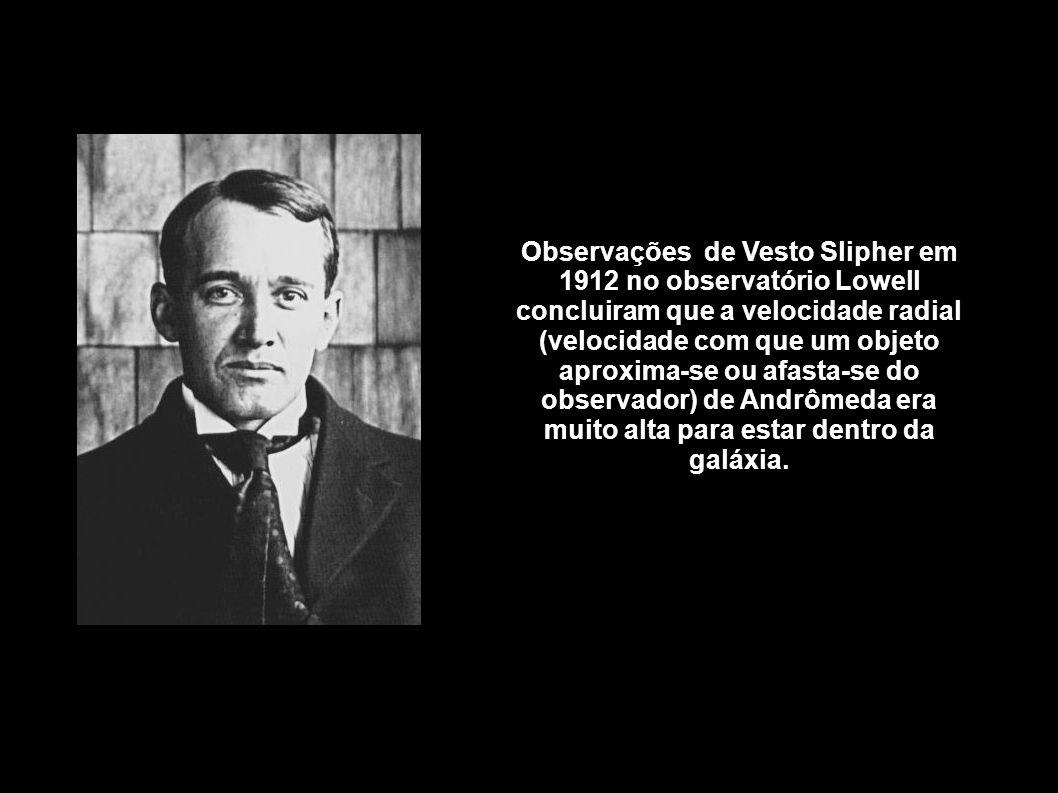 Observações de Vesto Slipher em 1912 no observatório Lowell concluiram que a velocidade radial (velocidade com que um objeto aproxima-se ou afasta-se do observador) de Andrômeda era muito alta para estar dentro da galáxia.