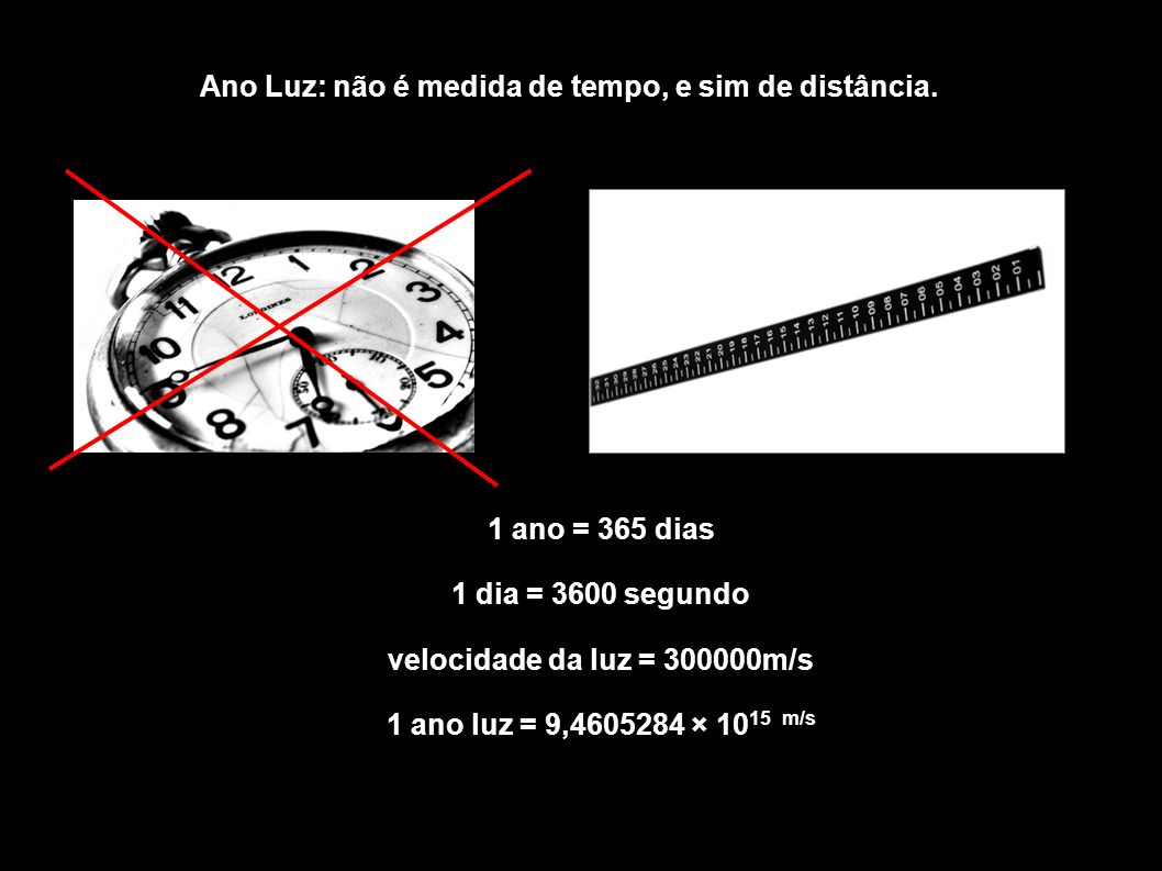 Ano Luz: não é medida de tempo, e sim de distância.