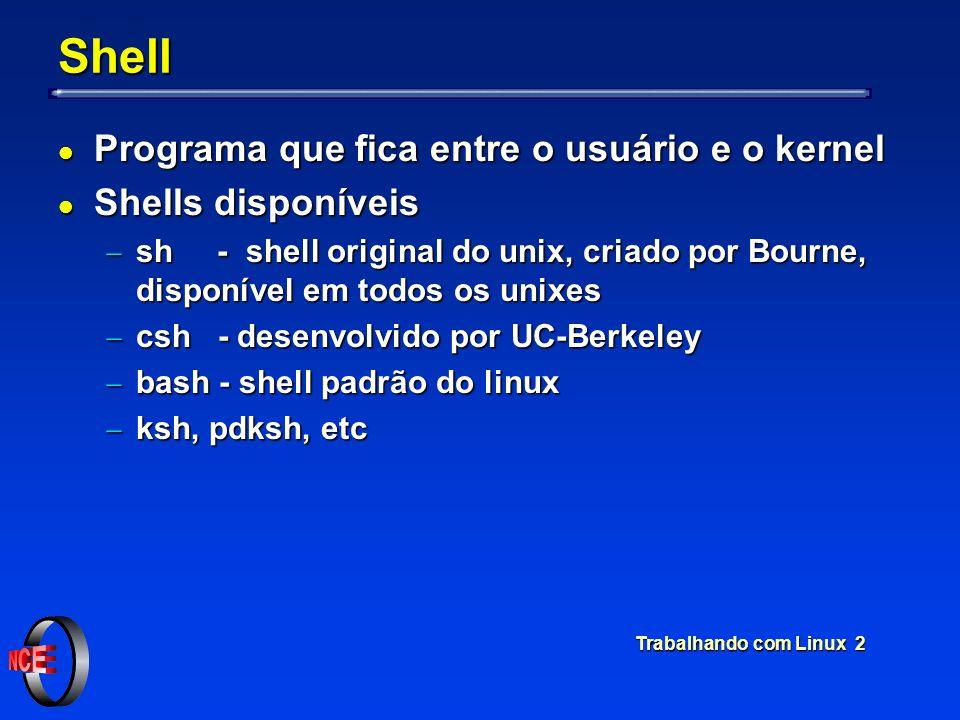 Shell Programa que fica entre o usuário e o kernel Shells disponíveis