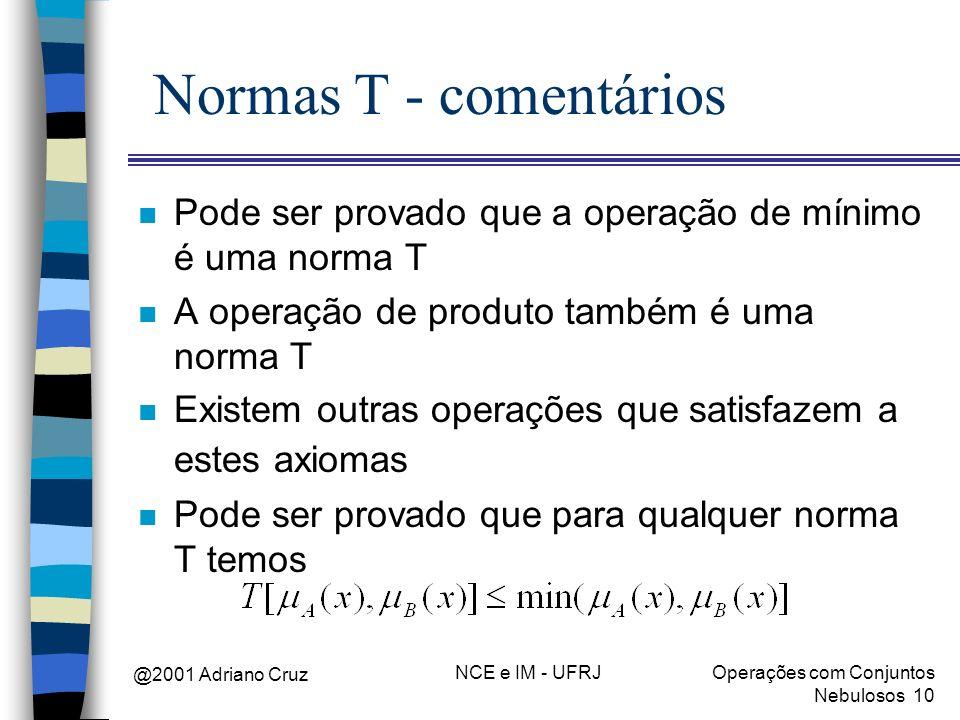 Normas T - comentários Pode ser provado que a operação de mínimo é uma norma T. A operação de produto também é uma norma T.