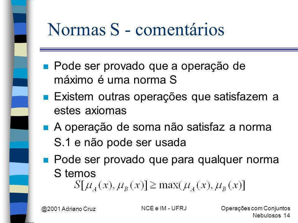 Normas S - comentários Pode ser provado que a operação de máximo é uma norma S. Existem outras operações que satisfazem a estes axiomas.
