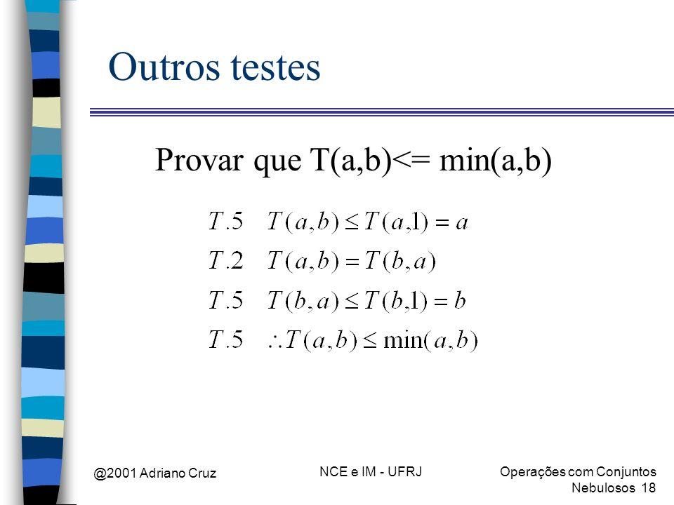 Provar que T(a,b)<= min(a,b)