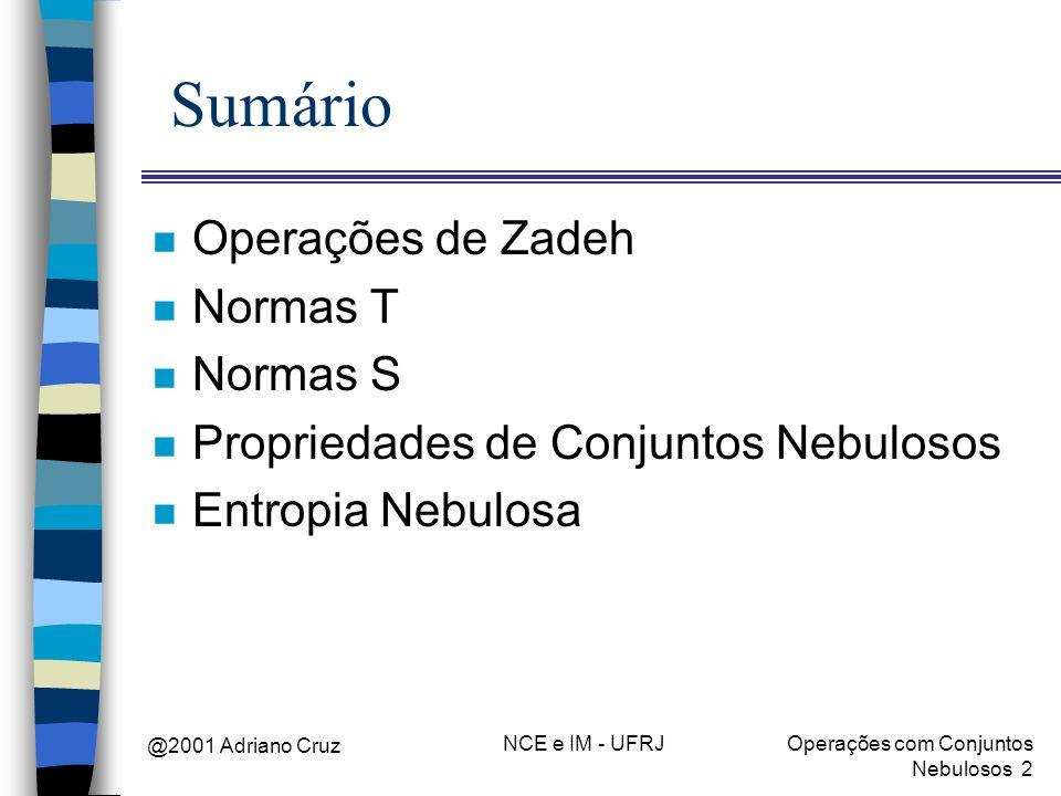 Sumário Operações de Zadeh Normas T Normas S
