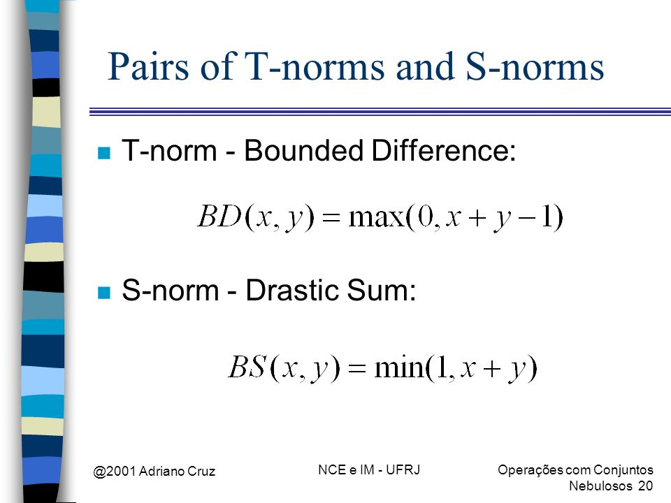 Pairs of T-norms and S-norms
