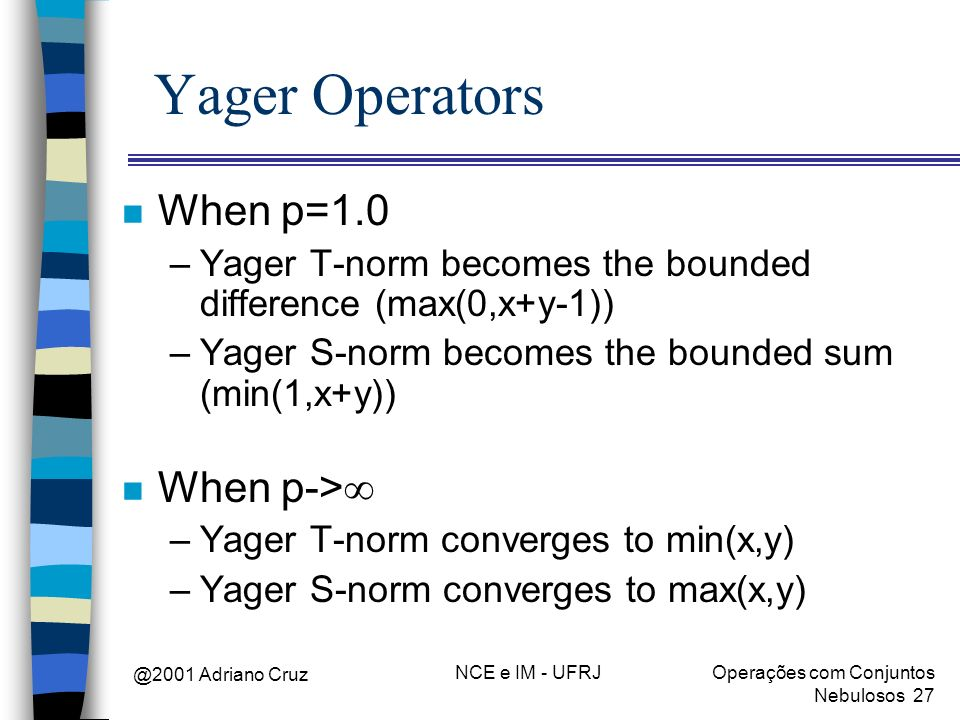Yager Operators When p=1.0 When p->