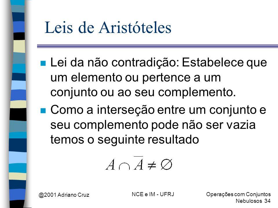 Leis de Aristóteles Lei da não contradição: Estabelece que um elemento ou pertence a um conjunto ou ao seu complemento.