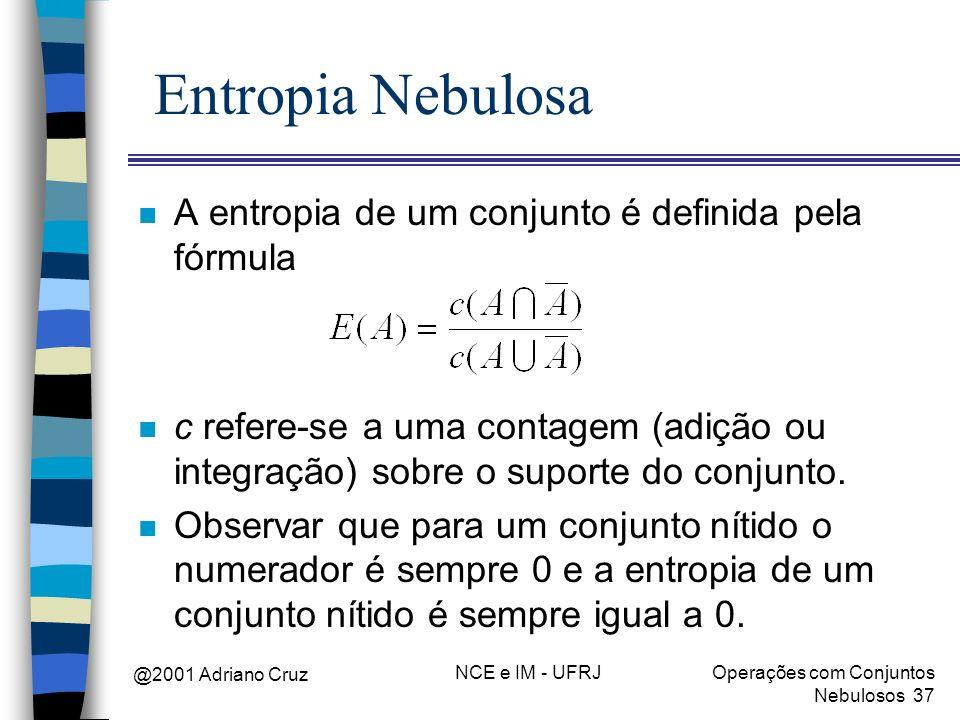 Entropia Nebulosa A entropia de um conjunto é definida pela fórmula