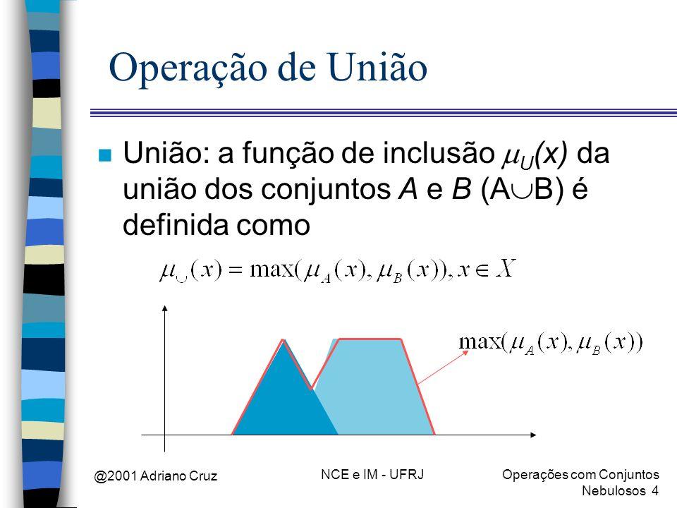 Operação de União União: a função de inclusão mU(x) da união dos conjuntos A e B (AB) é definida como.