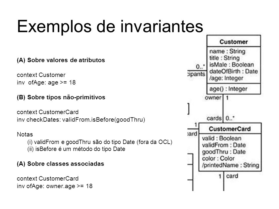 Exemplos de invariantes