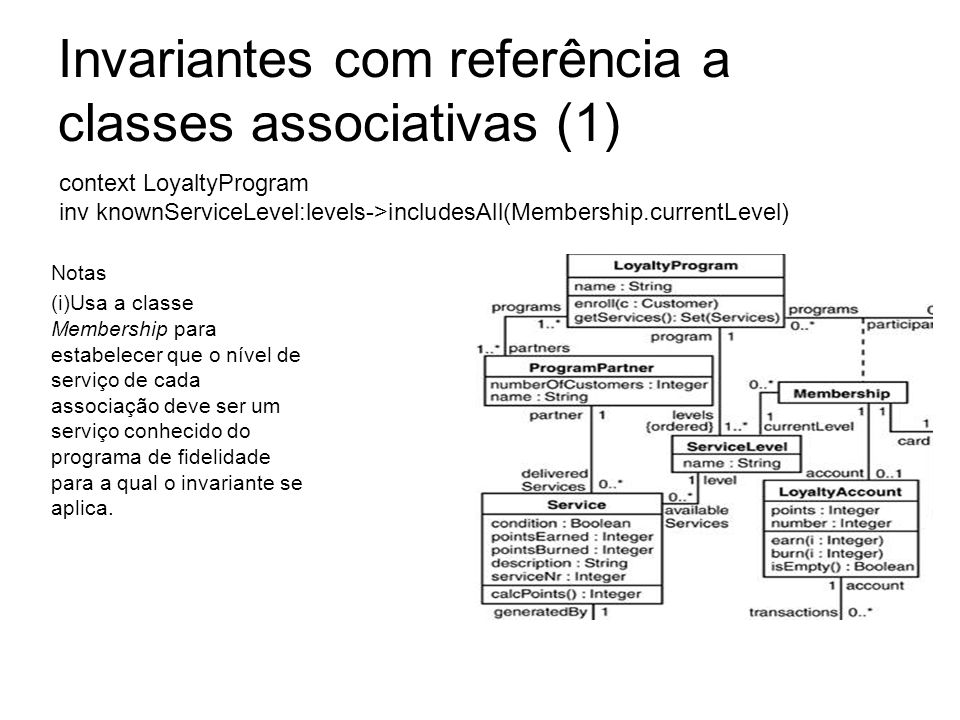 Invariantes com referência a classes associativas (1)