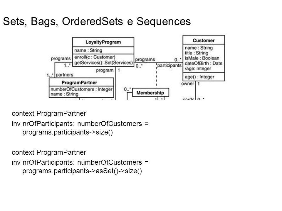 Sets, Bags, OrderedSets e Sequences