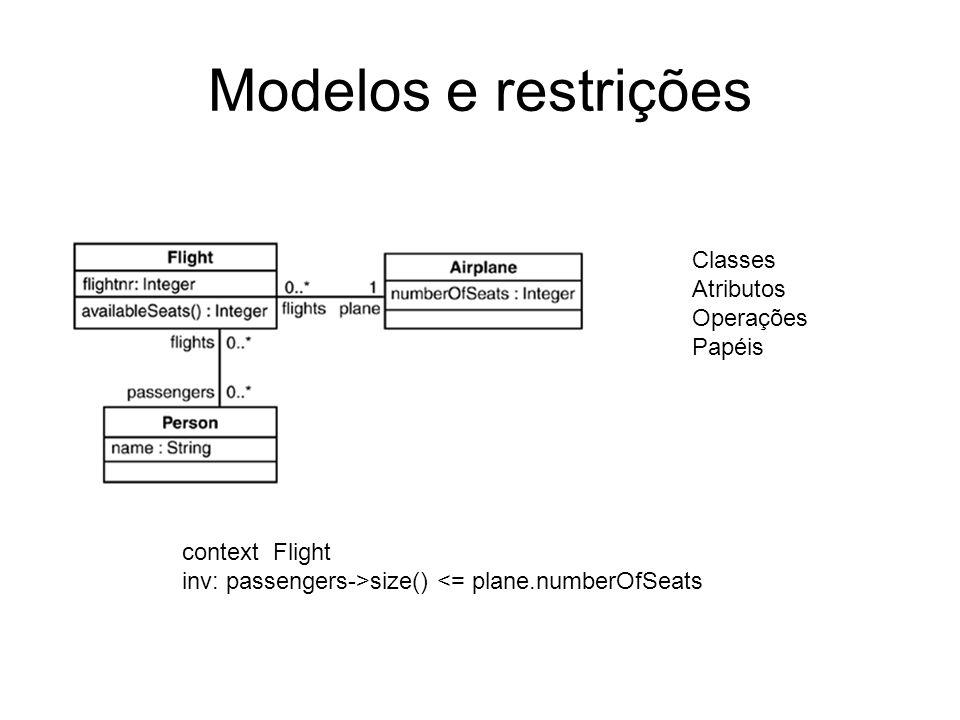 Modelos e restrições Classes Atributos Operações Papéis context Flight