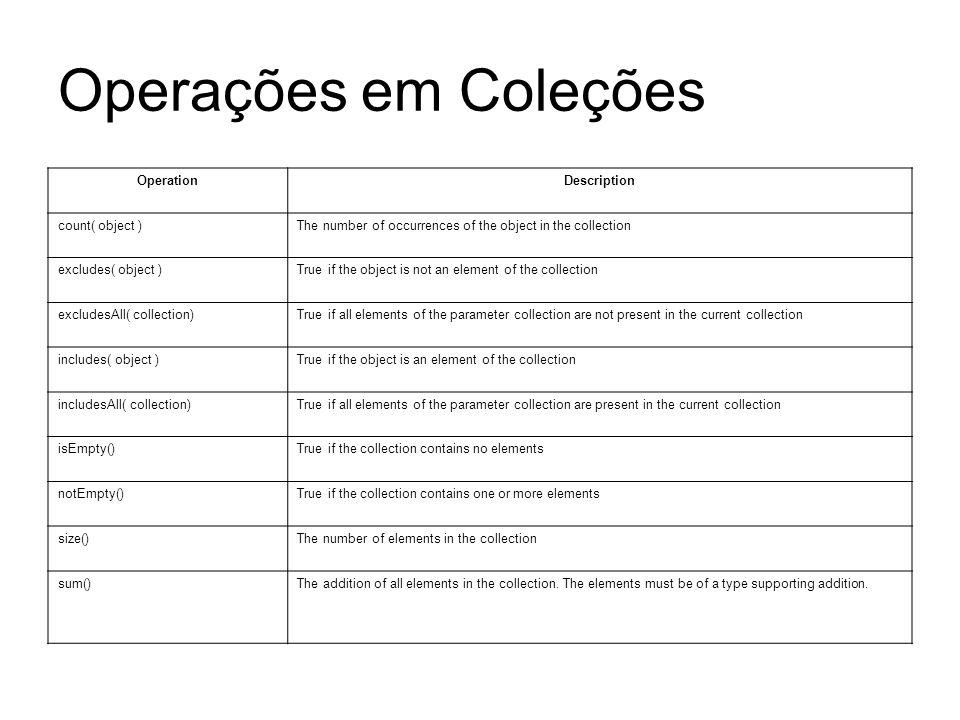 Operações em Coleções Operation Description count( object )