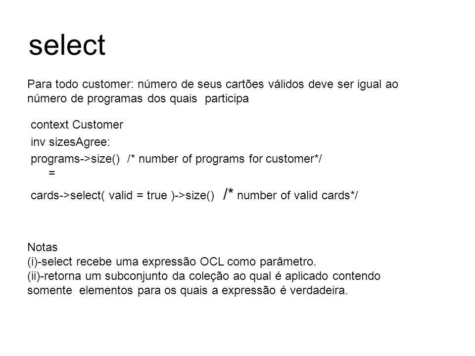 selectPara todo customer: número de seus cartões válidos deve ser igual ao número de programas dos quais participa.
