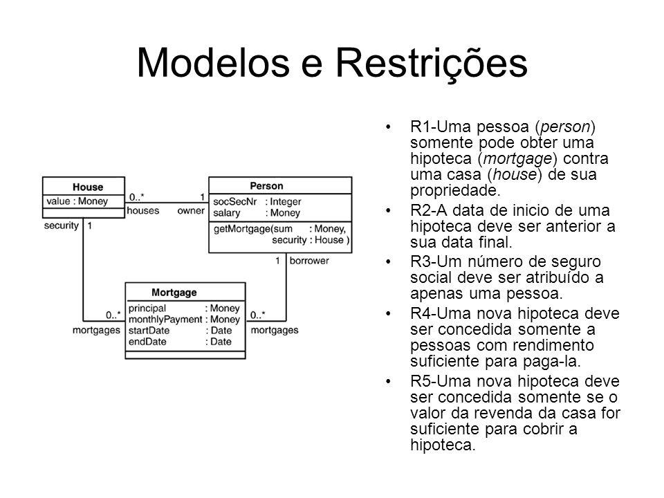 Modelos e Restrições R1-Uma pessoa (person) somente pode obter uma hipoteca (mortgage) contra uma casa (house) de sua propriedade.