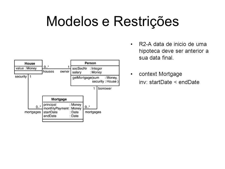 Modelos e Restrições R2-A data de inicio de uma hipoteca deve ser anterior a sua data final. context Mortgage.