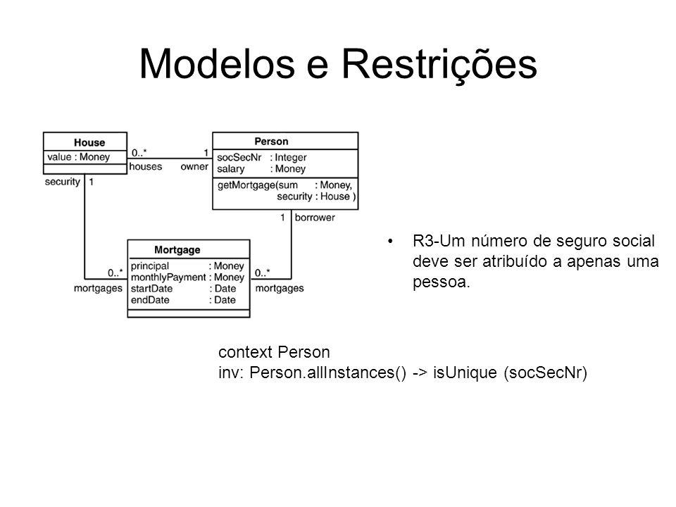 Modelos e RestriçõesR3-Um número de seguro social deve ser atribuído a apenas uma pessoa. context Person.