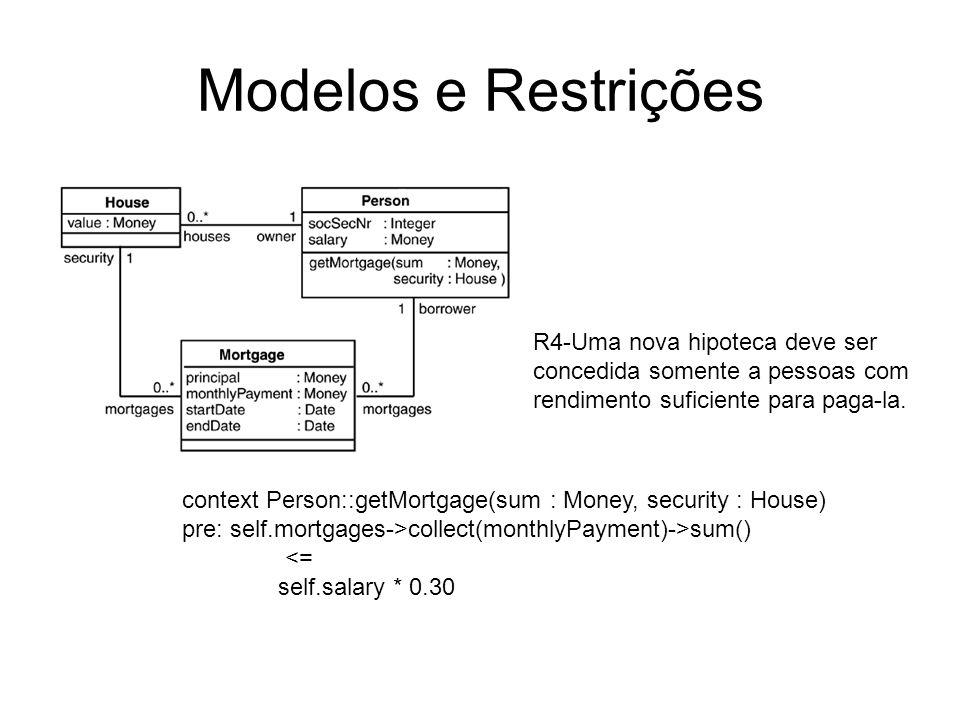 Modelos e Restrições R4-Uma nova hipoteca deve ser concedida somente a pessoas com rendimento suficiente para paga-la.