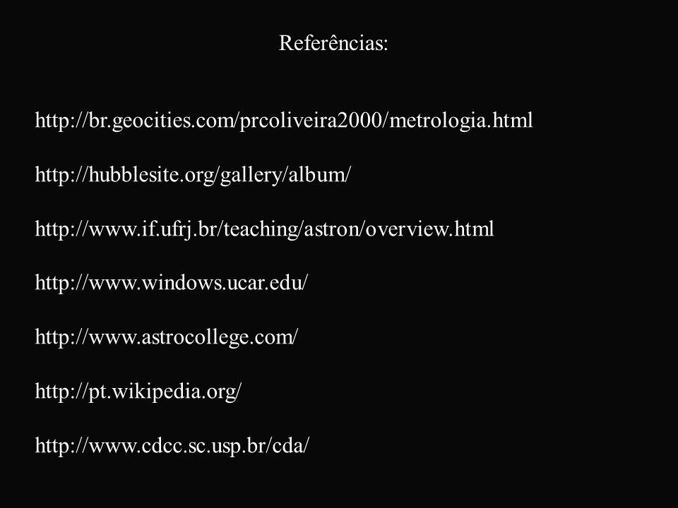 Referências: http://br.geocities.com/prcoliveira2000/metrologia.html. http://hubblesite.org/gallery/album/
