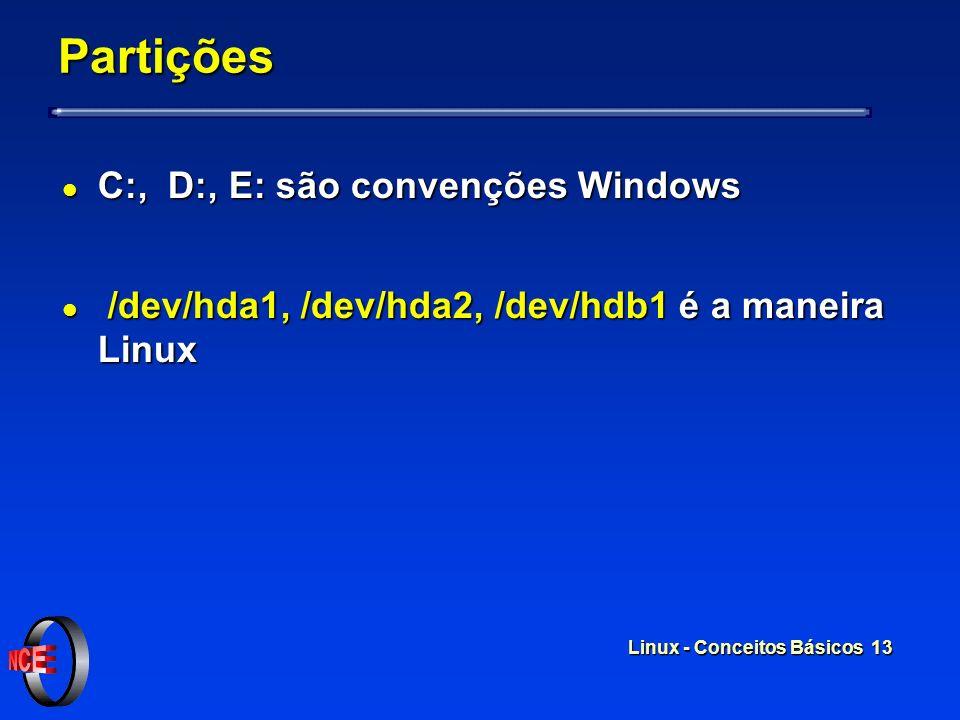 Partições C:, D:, E: são convenções Windows