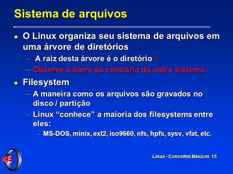 Sistema de arquivos O Linux organiza seu sistema de arquivos em uma árvore de diretórios. A raiz desta árvore é o diretório /