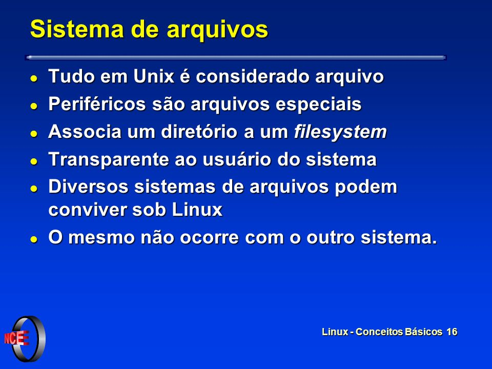 Sistema de arquivos Tudo em Unix é considerado arquivo