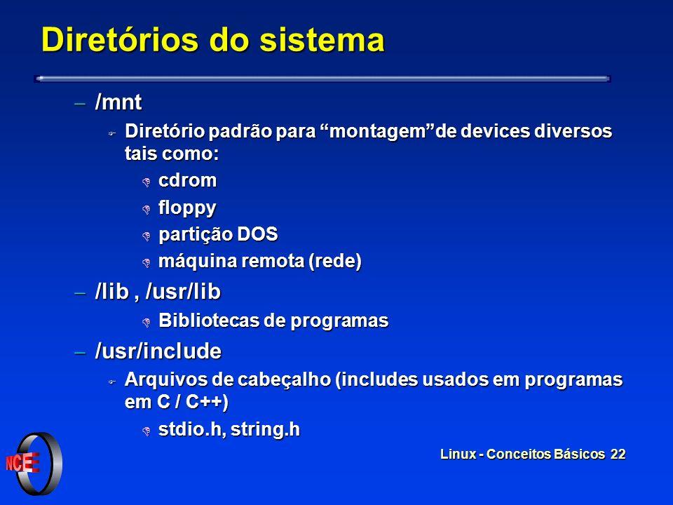 Diretórios do sistema /mnt /lib , /usr/lib /usr/include