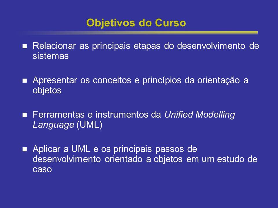 Objetivos do Curso Relacionar as principais etapas do desenvolvimento de sistemas. Apresentar os conceitos e princípios da orientação a objetos.