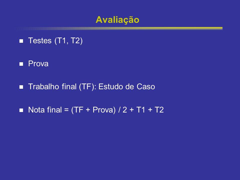 Avaliação Testes (T1, T2) Prova Trabalho final (TF): Estudo de Caso