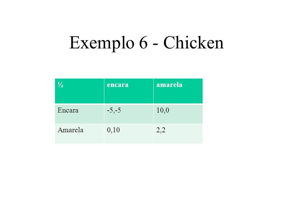 Exemplo 6 - Chicken ½ encara amarela Encara -5,-5 10,0 Amarela 0,10