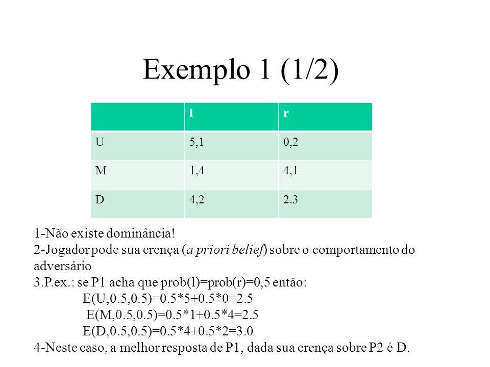 Exemplo 1 (1/2) 1-Não existe dominância!