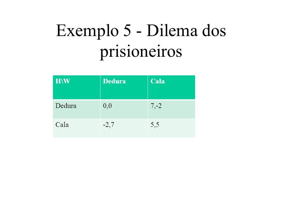 Exemplo 5 - Dilema dos prisioneiros
