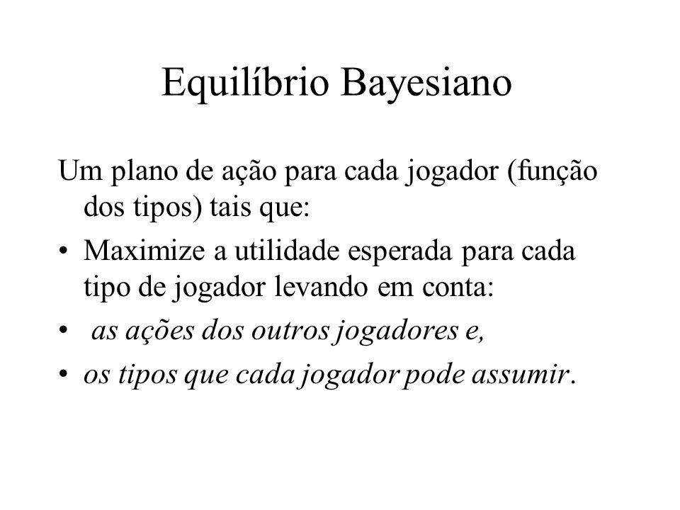 Equilíbrio Bayesiano Um plano de ação para cada jogador (função dos tipos) tais que: