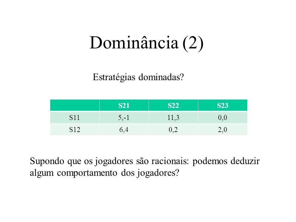 Dominância (2) Estratégias dominadas