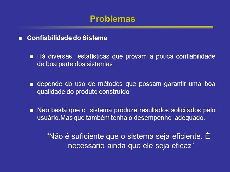 Problemas Confiabilidade do Sistema. Há diversas estatísticas que provam a pouca confiabilidade de boa parte dos sistemas.
