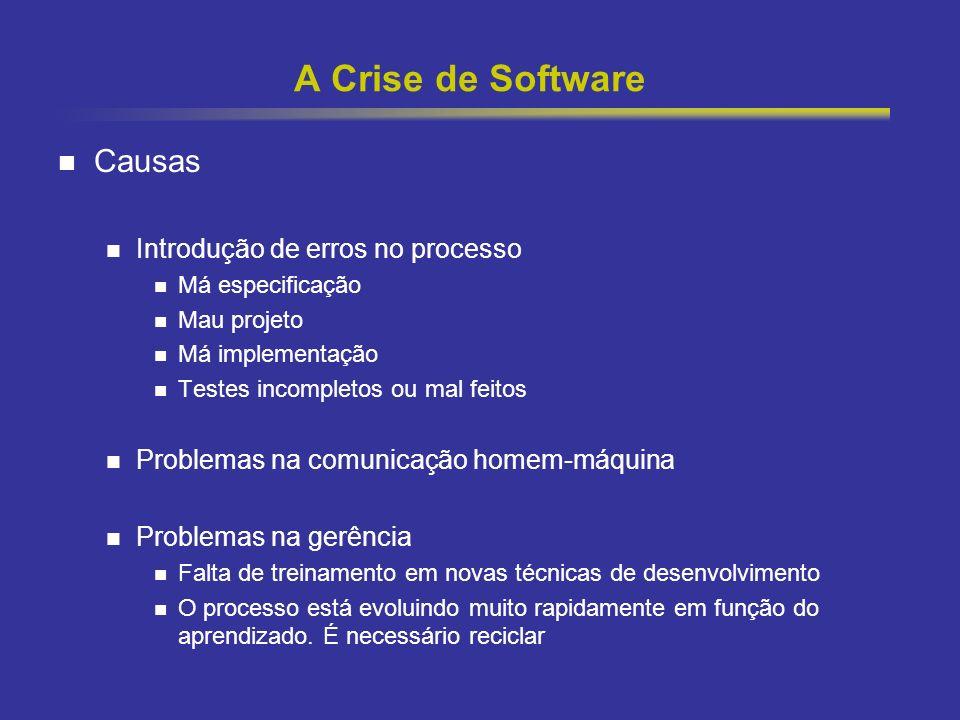 A Crise de Software Causas Introdução de erros no processo