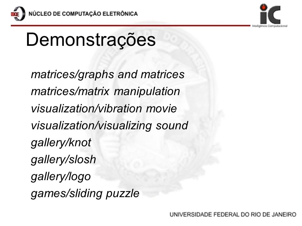 Demonstrações matrices/graphs and matrices