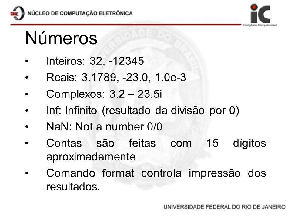 Números Inteiros: 32, -12345 Reais: 3.1789, -23.0, 1.0e-3