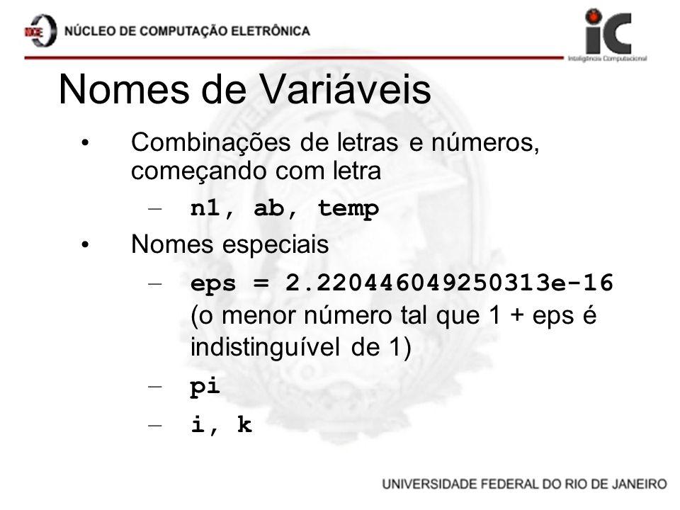 Nomes de Variáveis Combinações de letras e números, começando com letra. n1, ab, temp. Nomes especiais.
