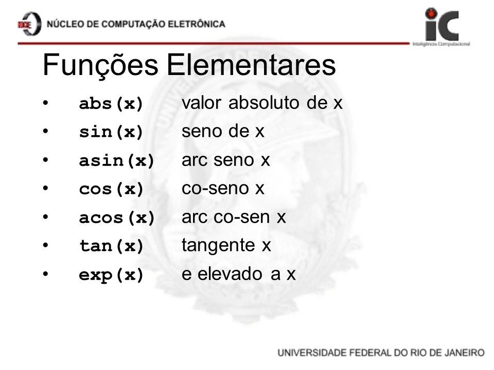 Funções Elementares abs(x) valor absoluto de x sin(x) seno de x