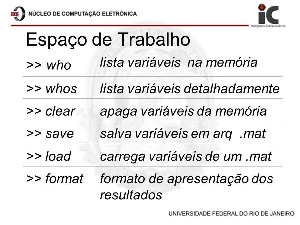 Espaço de Trabalho >> who lista variáveis na memória