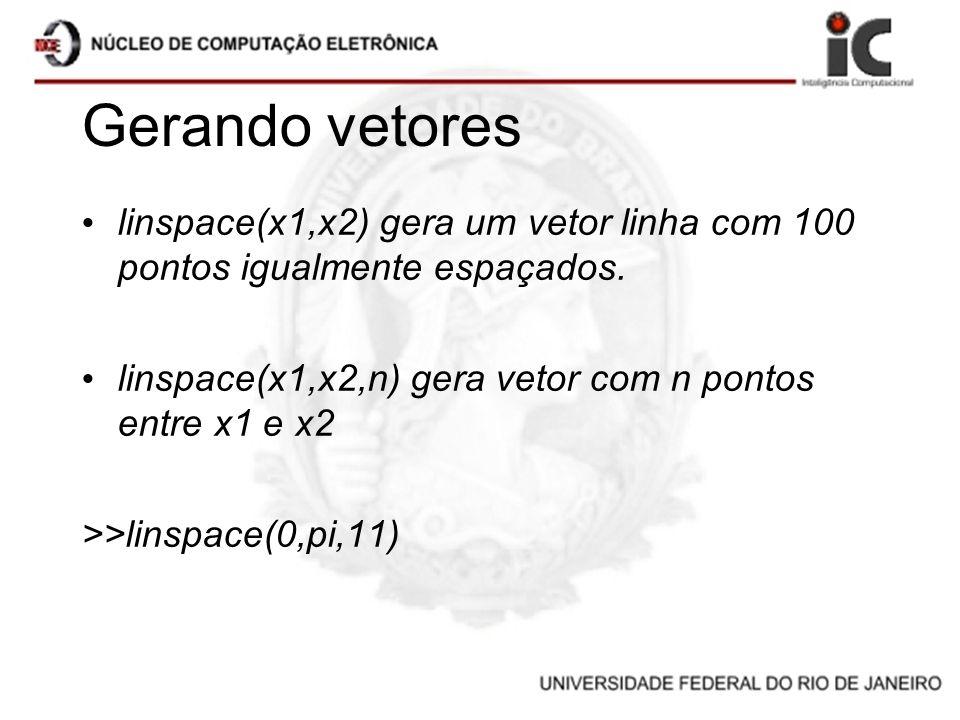 Gerando vetores linspace(x1,x2) gera um vetor linha com 100 pontos igualmente espaçados. linspace(x1,x2,n) gera vetor com n pontos entre x1 e x2.